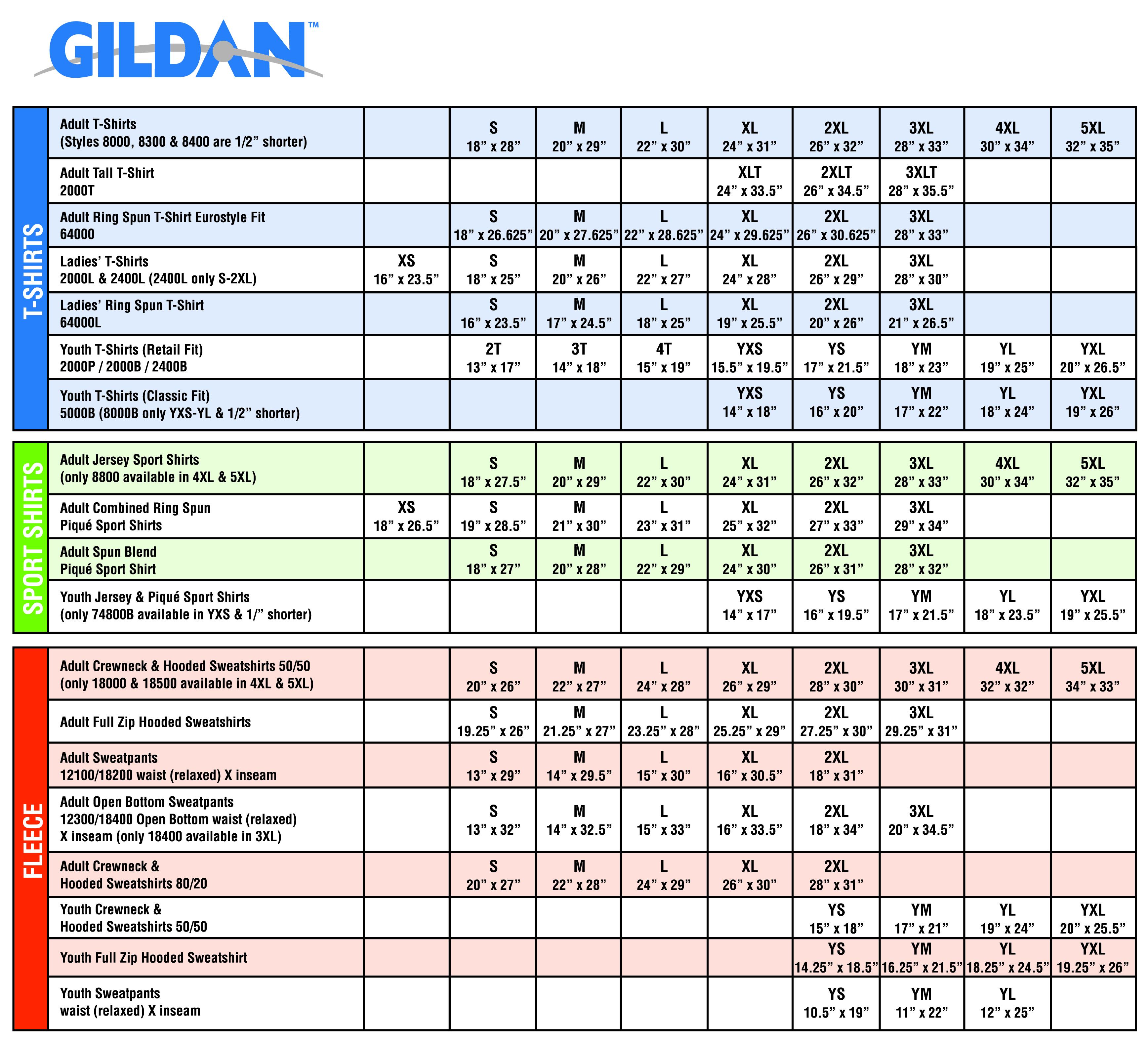 37765a872 Gildan Size Chart